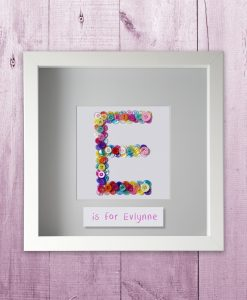 Button Letter Frame for a girl