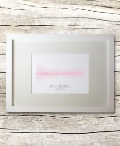 Personalised heartbeat sound wave in white
