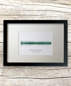 Personalised heartbeat sound wave in black