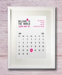 Personalised birthday calendar in white