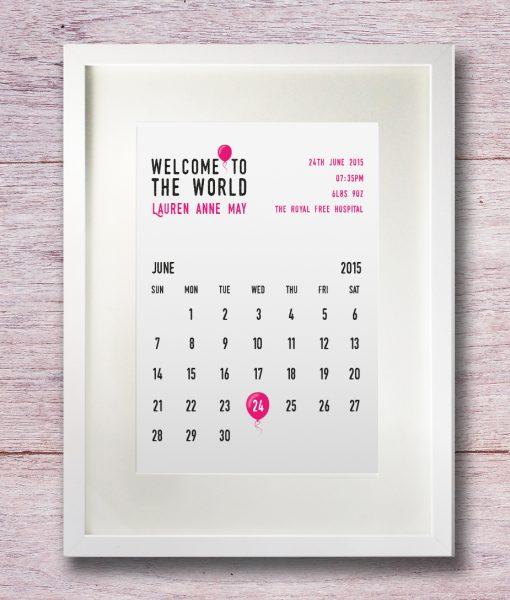 Personalised birthday calendar